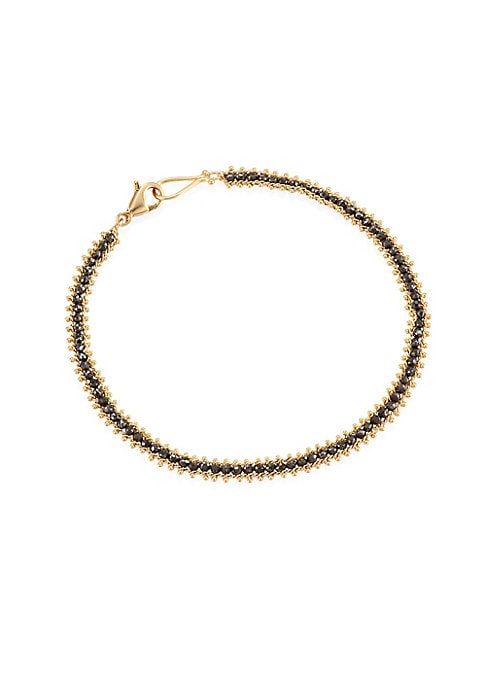 """Image of Deluxe bracelet with black diamonds linked into 18k gold. Black diamonds, 3.15 tcw.18K yellow gold. Bracelet, 7"""" long. Hook closure. Made in America."""