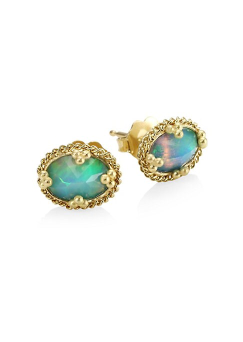 """Image of Circular studs with iridescent opal. Ethiopian opal.18k yellow gold. Length, 0.3"""".Width, 0.3"""".Post back. Made in USA."""