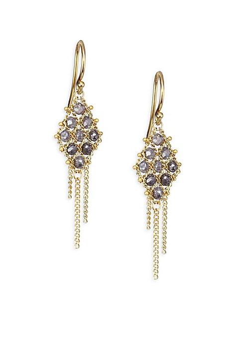 "Image of 18k gold geometric grid drop earrings with grey diamonds. Grey diamonds, 1.55 tcw.18k yellow gold. Drop, 1.11"".Hook closure. Made in America."