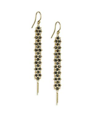 AMALI Black Diamond Drop Earrings in Yellow Gold