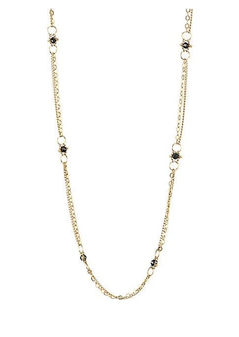 """Image of Black diamonds in gold linked chain form this stunning necklace. Black diamonds, 2.15 twc.18k yellow gold. Length, about 36"""".Lobster closure. Made in USA."""