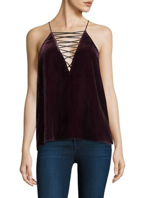 "Image of Lace-up velvet camisole.V-neck. Spaghetti straps. Racerback. About 24"" from shoulder to hem. Rayon/silk/polyester. Dry clean. Imported. Model shown is 5'10"" (177cm) wearing size Small."