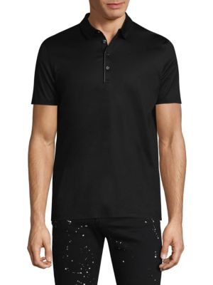 """Image of Show your fashion idea with this cotton polo. Polo collar. Short sleeves. Four-button placket. About 28"""" from shoulder to hem. Cotton. Machine wash. Imported."""