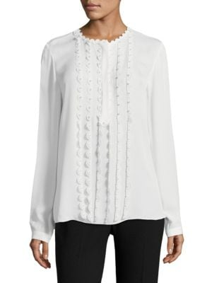 """Image of .EXCLUSIVELY AT SAKS FIFTH AVENUE. Silk blouse accented with scalloped trim and beading. Crewneck. Long sleeves. Buttoned barrel cuffs. About 26"""" from shoulder to hem. Silk. Dry clean. Imported. Model shown is 5'10"""" (177cm) wearing size Small."""