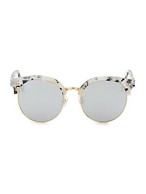 Image of Clubmaster sunglasses with goldtone finished frame 100% UV protection 55mm lens width,147mm temple length Adjustable nose pads Acetate/metal Imported. Men Accessories - Men Sunglasses. Gentle Monster. Color: Light Grey.