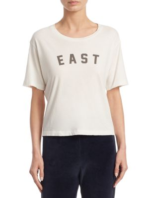 """Image of Knit cotton tee featuring a front graphic design. Roundneck. Short sleeves. About 23"""" from shoulder to hem. Cotton. Machine wash. Made in USA. Model shown is 5'10"""" (177cm) and wearing a size Small."""