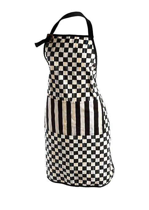 """Image of Protect yourself and your outfit from spills and splatters with this cotton-blend apron.26""""W x 34""""L.Cotton/leather/brass. Machine wash. Imported."""