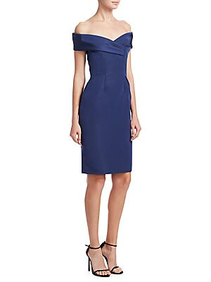"""Image of Fitted dress in soft silk textured fabric Off-the-shoulder neckline Short sleeves Concealed back zip About 40"""" from shoulder to hem Silk Dry clean Imported Model shown is 5'10"""" (177cm) wearing US size 4. Designer Evenin - Classic Evening > Saks Fifth Aven"""
