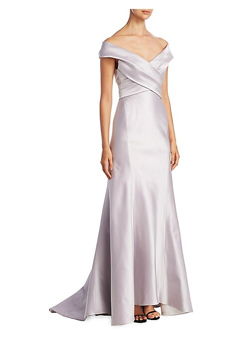 """Image of Smooth off-the-shoulder gown with ruched detailing. Off-the-shoulder neckline. Concealed back zip. About 60"""" from shoulder to hem. Silk. Dry clean. Made in USA. Model shown is 5'10"""" (177cm) wearing US size 4."""
