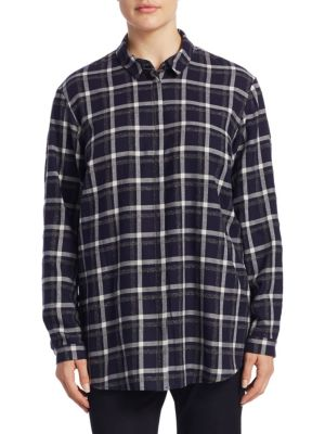 "Image of Cotton-blend buttoned shirt with checkered print. Point collar. Drop shoulder. Long sleeves. Buttoned cuffs. Concealed button front. Curved hem. About 30"" from shoulder to hem. Cotton/acrylic/polyester. Dry clean. Imported."