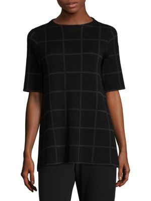 Plaid Elbow Sleeve Tunic by Eileen Fisher