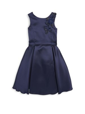 Girls Deep Pleat Swing Satin Dress