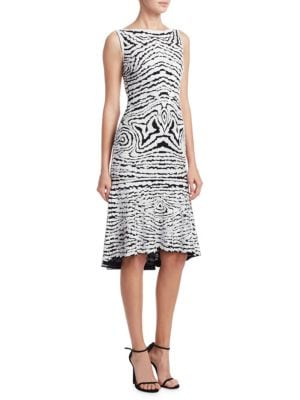 NAEEM KHAN High-Neck Sleeveless Beaded-Stretch Wool Midi Dress in Black/White