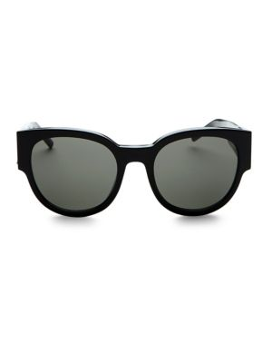 Image of Black on black statement glasses with logo detail.54mm lens width; 21mm bridge width; 135mm temple length.100% UV protection. Smoke lenses. Case and cleaning cloth included. Acetate. Made in Italy.