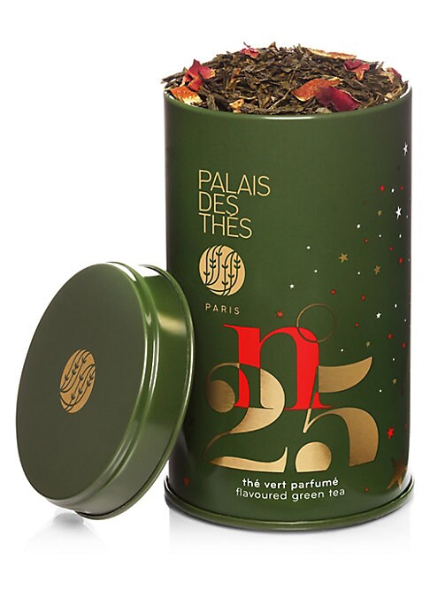 Image of Palais des Thes Holiday Green Tea is a beautiful green tea from China with notes of citrus, rose, almonds and spices. This loose tea packaged in a round tin, perfect to warm up your holidays with these wintery flavors. Makes about 50 cups of tea.3.5 oz. M