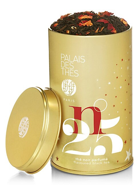 Image of Palais des Thes Holiday Black Tea packaged in round tin, is a beautiful blend with notes of citrus, rose, almonds and spices. Its high caffeine content makes it excellent for your holiday mornings. Makes about 50 cups of tea.3.5 oz. Made in France.