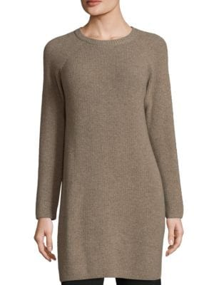 """Image of .Cashmere crafted long sleeves tunic. Roundneck. Ribbed collar. Long sleeves. About 35""""from shoulder to hem. Cashmere. Hand wash. Imported. Model shown is 5'10"""" (177cm) wearing size Small."""