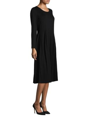 "Image of Casual midi dress featuring box pleated skirt. Roundneck. Long sleeves. About 45"" from shoulder to hem. Viscose/spandex. Machine wash. Made in USA. Model shown is 5'10"" (177cm) wearing size Small."