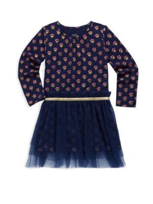 Image of Printed cotton-blend dress with tulle skirt overlay. Crewneck. Long sleeves. Tiered tulle skirt overlay. Cotton/modal/spandex/polyamide. Machine wash. Imported.