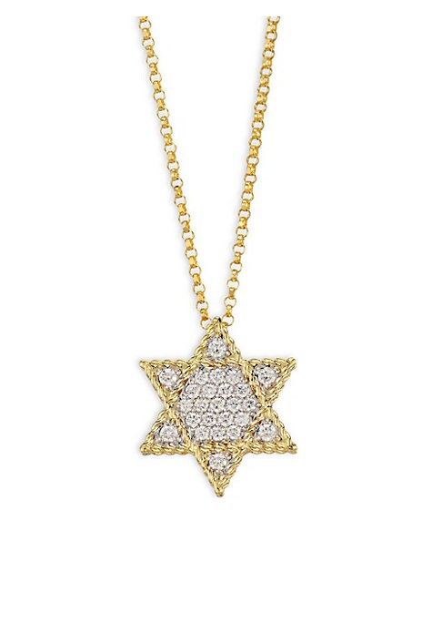 """Image of From the Tiny Treasures Collection. This petite diamond-encrusted star with an open center is set in 18k yellow gold and hangs from a trace cable chain. Diamonds, 0.22 tcw.18k yellow gold. Length, about 18"""".Pendant diameter, about 0.5"""".Lobster clasp. Made"""