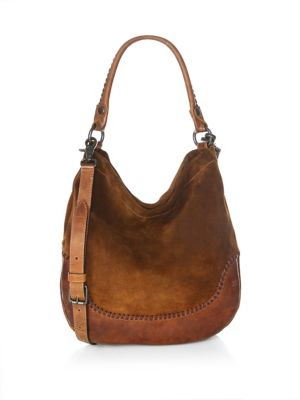 Melissa Suede & Whipstitch Leather Hobo - Green, Chestnut