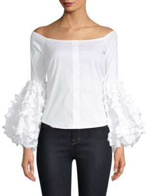 Gisele Off The Shoulder Bell Sleeve Top by Caroline Constas