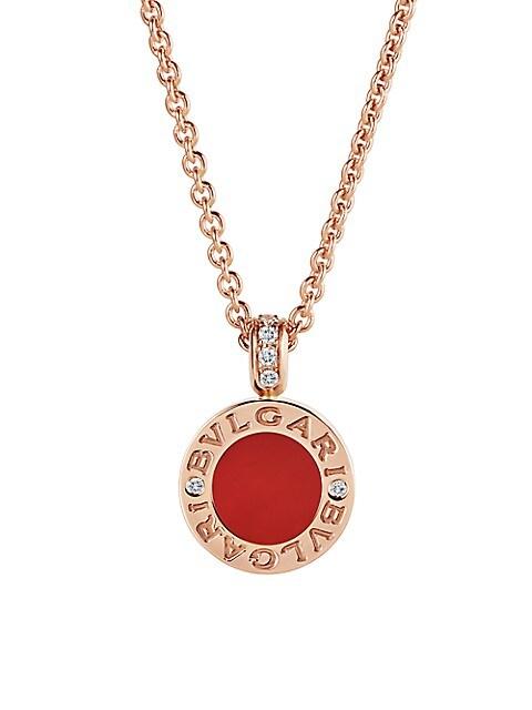 Classic 18K Rose Gold, Pavé Diamonds, Carnelian & Mother-of-Pearl Pendant Necklace