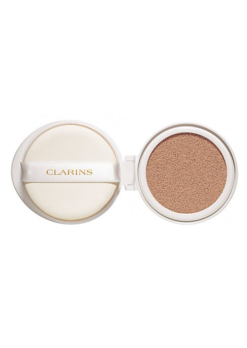 Image of 24-hours of non-stop hydration for a glowy, flawless finish! Clarins' moisture-rich cushion foundation lets skin breathe while instantly concealing imperfections. Ultra-fine buildable formula comes in a convenient compact to keep your skin looking flawles