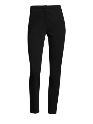 "Image of Streamlined pant with smooth stretch. Zip fly with hook and bar closure. Front slash pockets. Back welt pockets. Slim fit. Rise, about 10"".Leg circumference, about 15"".Inseam, about 28"".Viscose/nylon/elastane. Dry clean. Imported. Model shown is 5'10"" (17"