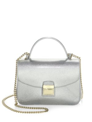 """Image of Glossy crossbody bag finished with chain strap accent. Top handle, 5"""" drop. Shoulder strap, 55"""" drop. Push-lock closure.17""""W x 12""""H x 6.5""""D.Leather/gomma glitter. Made in Italy."""