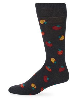 MARCOLIANI Mid-Calf Tomato Cotton Socks in Charcoal