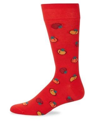 MARCOLIANI Mid-Calf Tomato Cotton Socks in Red