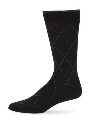 MARCOLIANI Mid-Calf Contrast Diamond Cotton Socks in Black