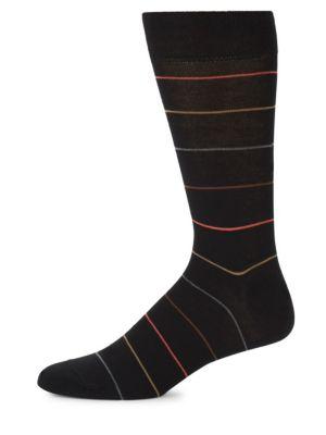 MARCOLIANI Mid-Calf Scala Stripe Cotton Socks in Black