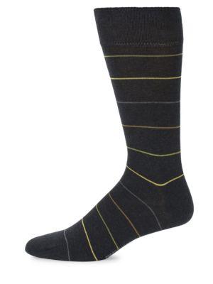 MARCOLIANI Mid-Calf Scala Stripe Cotton Socks in Charcoal