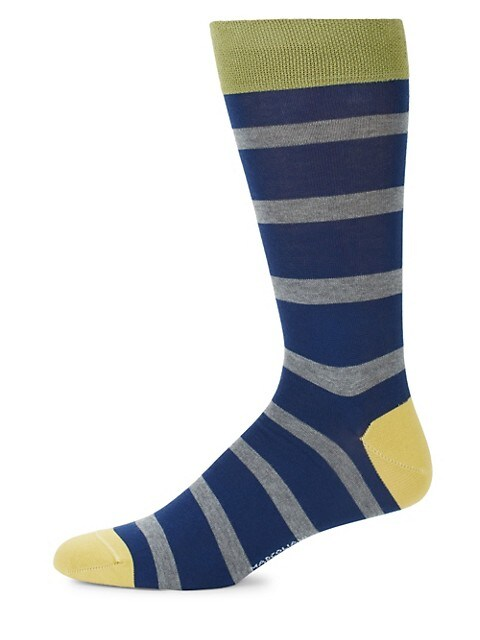 Mid-Calf Skipper Stripe Cotton Socks