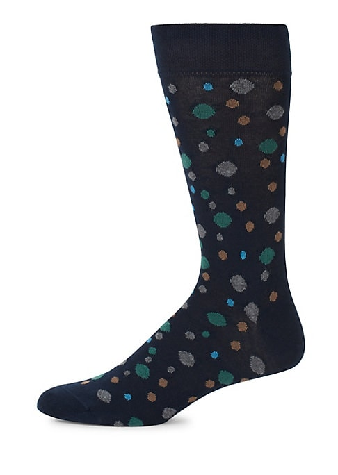 Image of Cotton socks constructed with multicolor round. Mid-calf height. Pima cotton. Machine wash. Made in Italy.