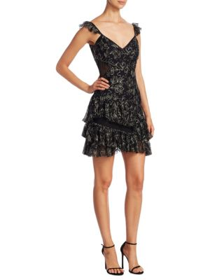 Woman Enid Metallic Ruffled Embroidered Tulle Mini Dress Black in Black/Pewter