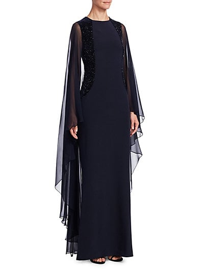 Teri Jon by Rickie Freeman Embellished Crystal Velvet Evening Gown ...