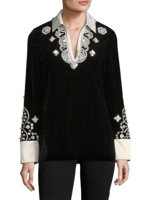 Hadley Plush-Velvet Embroidered Tunic in Black