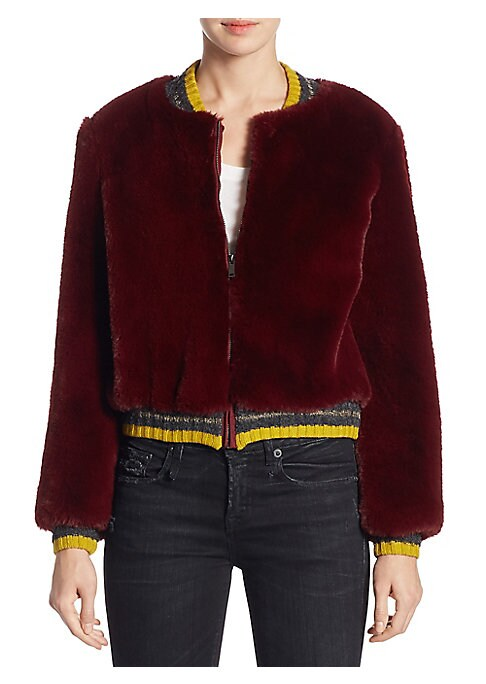 """Image of Plush faux fur bomber jacket. Baseball collar. Long sleeves. Rib-knit at neck, cuffs, and hem. Front zip. About 23"""" from shoulder to hem. Modacrylic. Fur type: faux. Machine wash. Imported. Model shown is 5'10"""" (177cm) and wearing US size Small."""