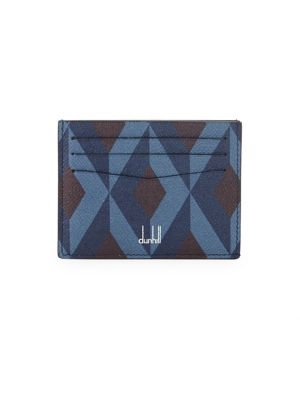 DUNHILL Cadogan Engine Turn Leather Simple Card Case in Multi Pattern