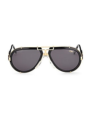 Image of Aviator sunglasses with polished metallic bridge 62mm lens width; 17mm bridge width; 140mm temple length Saddle nose bridge Acetate/metal Imported. Men Accessories - Men Sunglasses. Cazal. Color: Black.