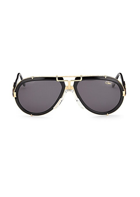 Image of Aviator sunglasses with polished metallic bridge.62mm lens width; 17mm bridge width; 140mm temple length. Saddle nose bridge. Acetate/metal. Imported.