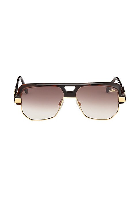 Image of Aviator sunglasses with contrasting half rim.59mm lens width; 15mm bridge width; 140mm temple length. Adjustable nose pads. Acetate/metal. Imported.