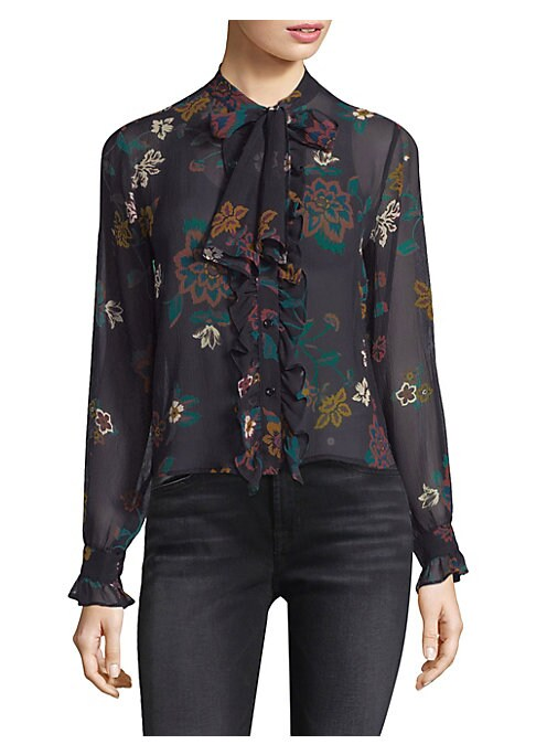 """Image of Silk ruffle trimmed blouse in colorful floral print. Tie neck. Long sleeves. Button-front. About 25"""" from shoulder to hem. Silk. Dry clean. Imported. Model shown is 5'10"""" (177cm) wearing US size Small."""