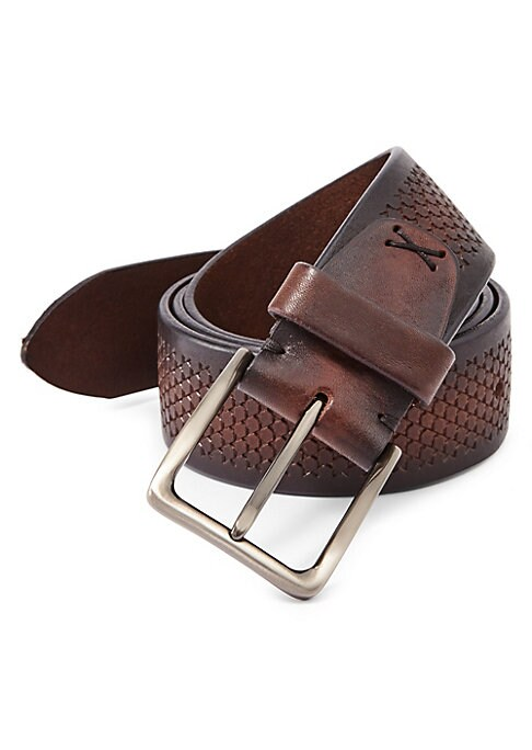 """Image of EXCLUSIVELY OURS. Hexagonal imprint adds texture to essential belt. Pin buckle closure. Width, about 2"""".Leather. Imported."""