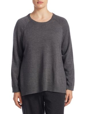 """Image of Sweatshirt made with pure merino wool. Roundneck. Long raglan sleeves. Ribbed cuffs and hem. Pull-on style. About 26"""" from shoulder to hem. Merino wool. Hand wash. Imported."""