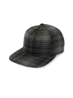 GENTS Chairman Plaid Wool Baseball Cap in Grey