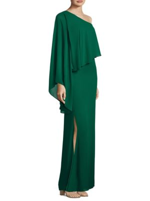 "Image of Floor-length gown with draped one-shoulder overlay. One-shoulder neckline. Butterfly sleeve. Concealed back zip. Split detail at side. Lined. About 63"" from shoulder to hem. Polyester. Dry clean. Imported. Model shown is 5'10"" (177cm) wearing a size 4."